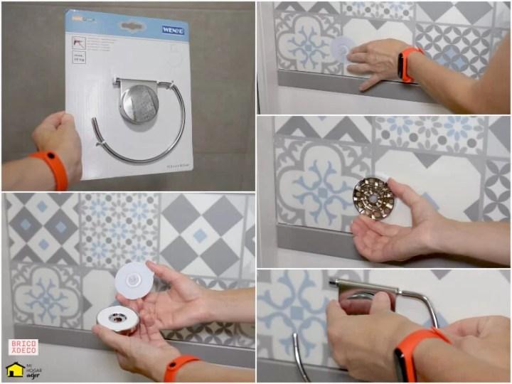 instalar accesorios de baño sin perforar