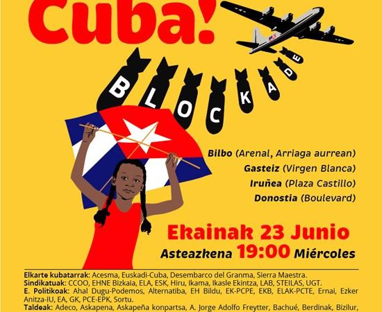 Capitales vascas acogerán convocatorias de la campaña internacional contra el bloqueo a Cuba