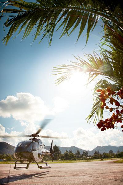helicopter tour raffles praslin seychelles