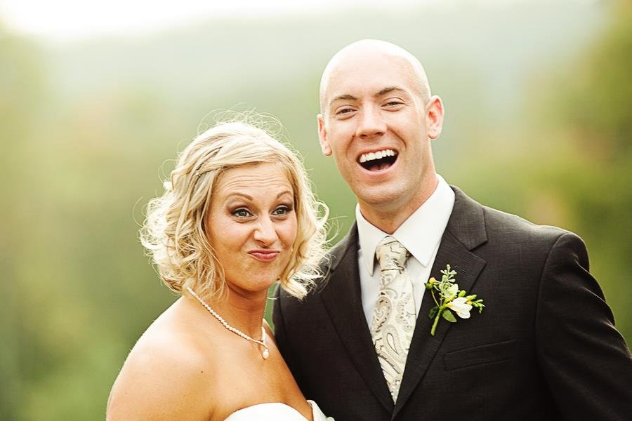 bride and groom silly faces