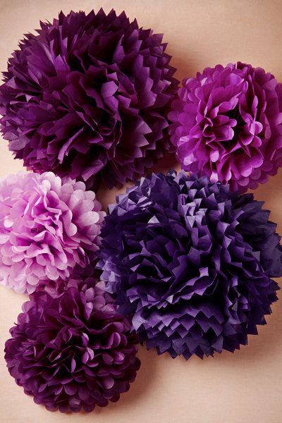 purple pom pom whimsical wedding