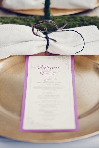 wedding menu purple gold orchid