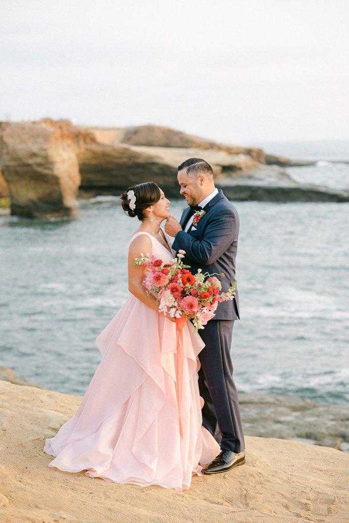 pink wedding gown beach wedding