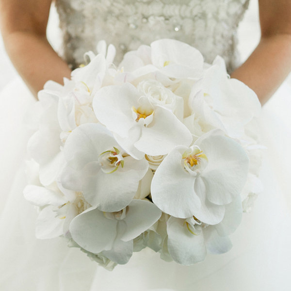 orchid wedding bouquet in white