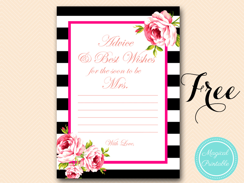 2 free printable games archives bridal shower ideas themes for Bridal shower advice cards template
