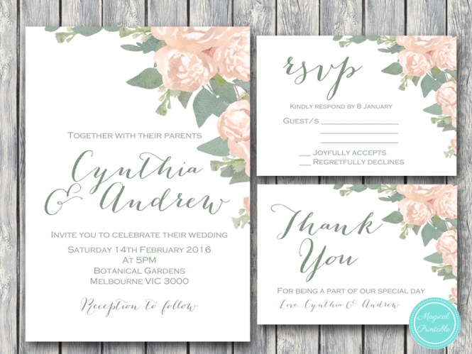 Custom Wedding Invitation Rsvp Thanks Card