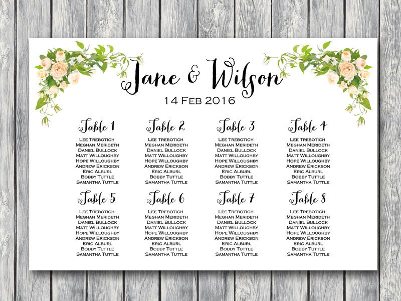 Peonies Wedding Seating Chart Printable Free Wedding Seating
