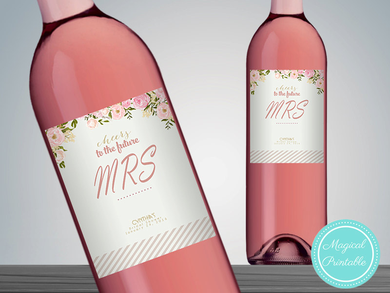 image about Printable Wine Bottle Labels known as Personalized Stylish Purple Wine Bottle Labels WC25