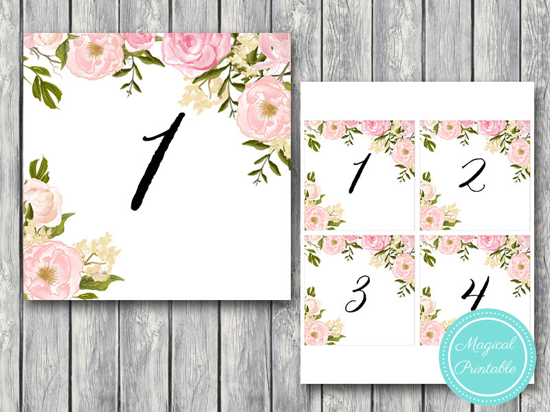 image about Printable Table Number referred to as Down load Peonies Marriage ceremony Desk Figures TN03