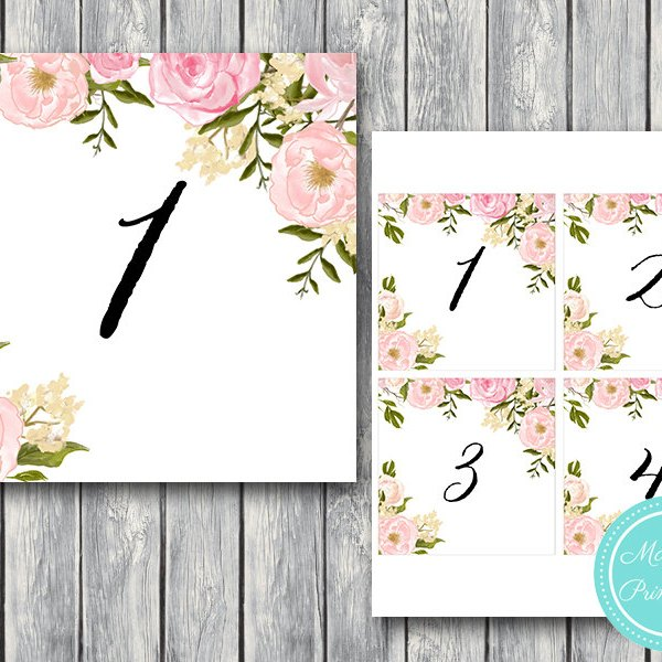 Miraculous Download Peonies Wedding Table Numbers Tn03 Download Free Architecture Designs Embacsunscenecom