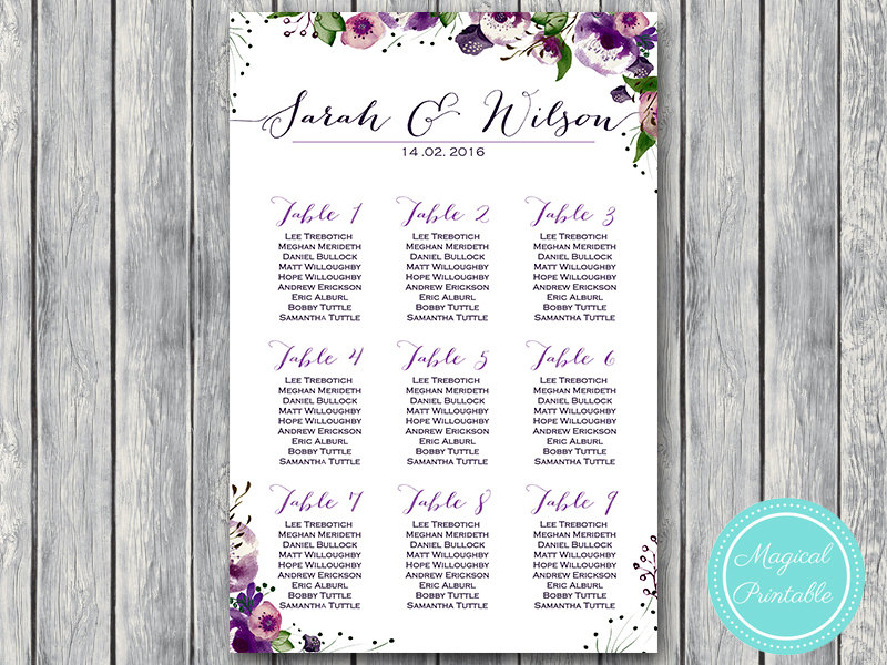 photo relating to Printable Wedding Seating Chart titled Tailor made Crimson Floral Wedding day Seating Chart Printable