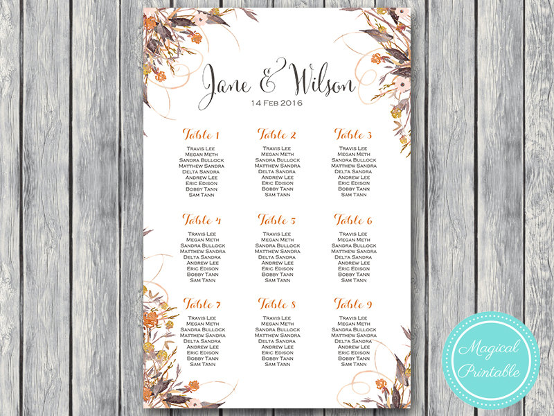 photo regarding Printable Wedding Seating Chart named Personalized Wild Common Slide Floral Marriage ceremony Seating Chart