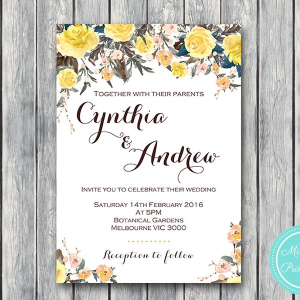 CUSTOM Yellow Rose Wedding Invitation Engagement Party