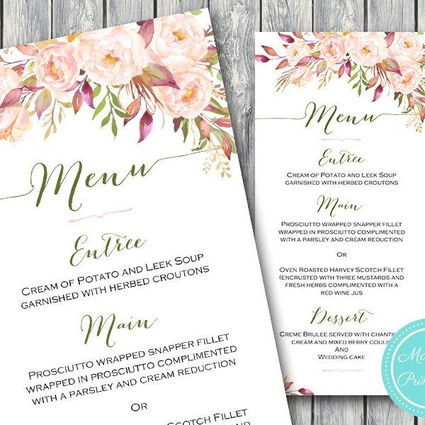 Wild Pink Floral Wedding Menu Bridal Shower Menu Bride Bows