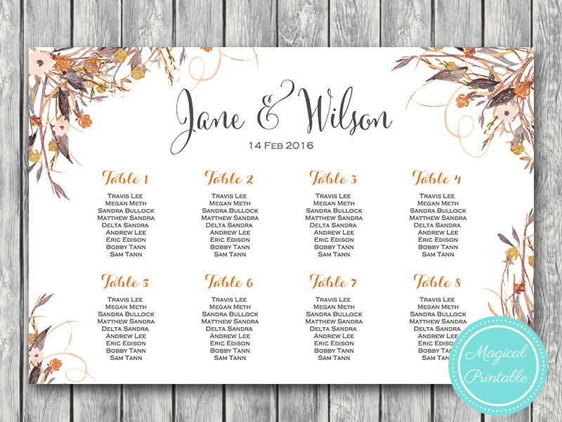 photograph about Printable Wedding Seating Chart referred to as Custom made Wild Common Tumble Floral Marriage ceremony Seating Chart Printable