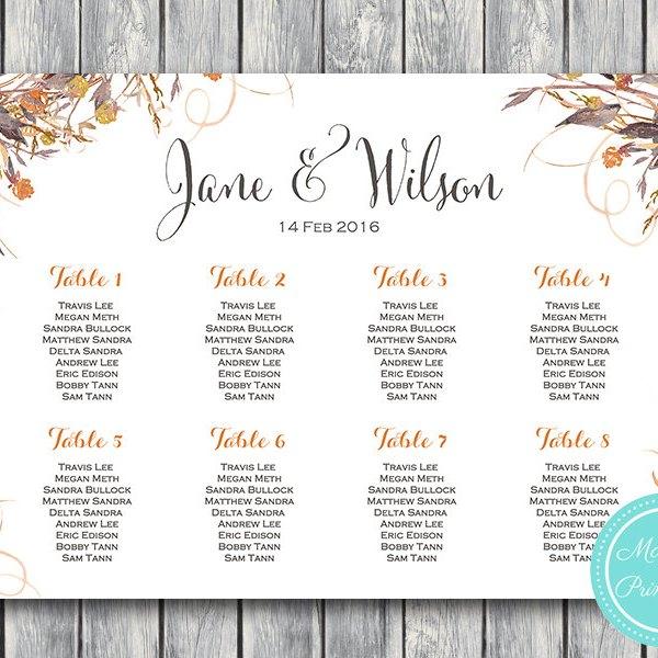 Seating Chart Wedding.Custom Wild Vintage Fall Floral Wedding Seating Chart Printable