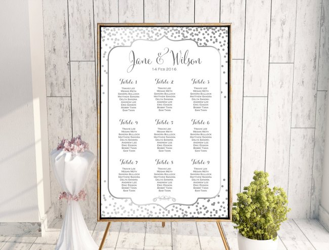 image regarding Free Printable Wedding Seating Chart titled Custom made Silver Confetti Wedding ceremony Seating Chart WD92