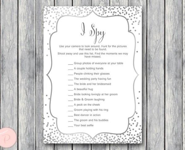 Silver Dots Wedding I Spy Game