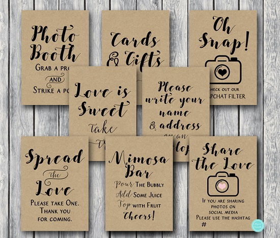 1ec70f859602f DOWNLOAD Rustic Wedding Shower Table Signs