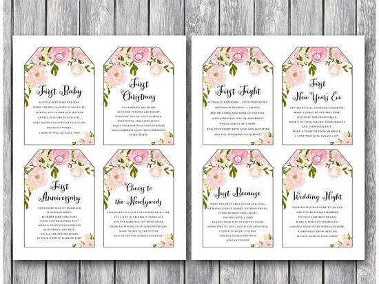 graphic about Printable Wine Tags for Bridal Shower Gift called Down load Red Marriage ceremony Wine Tag Firsts