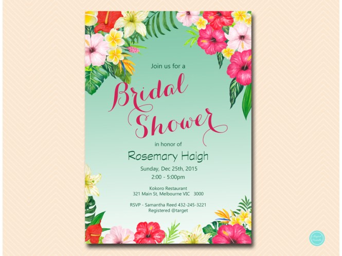 Custom Tropical Luau Wedding Shower Invitations