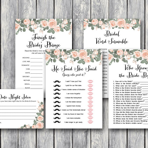 pink floral bridal shower game printable romantic download