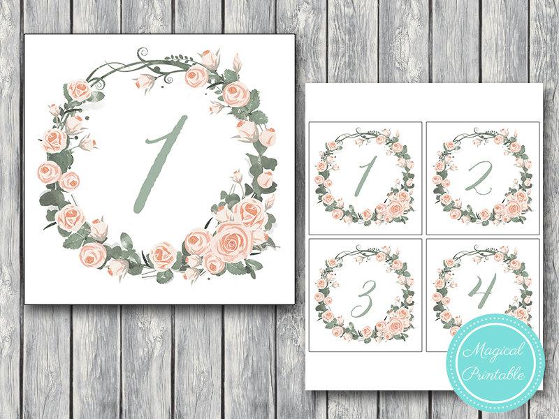 Download Pink Floral Wedding Table Numbers