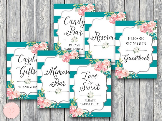 220a023193a5c DOWNLOAD Teal and Silver Bridal Shower Table Signs