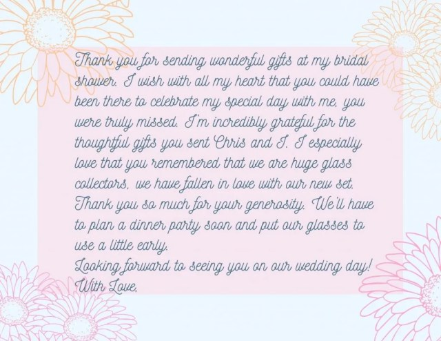 How to Write a Meaningful Bridal Shower Thank You Card