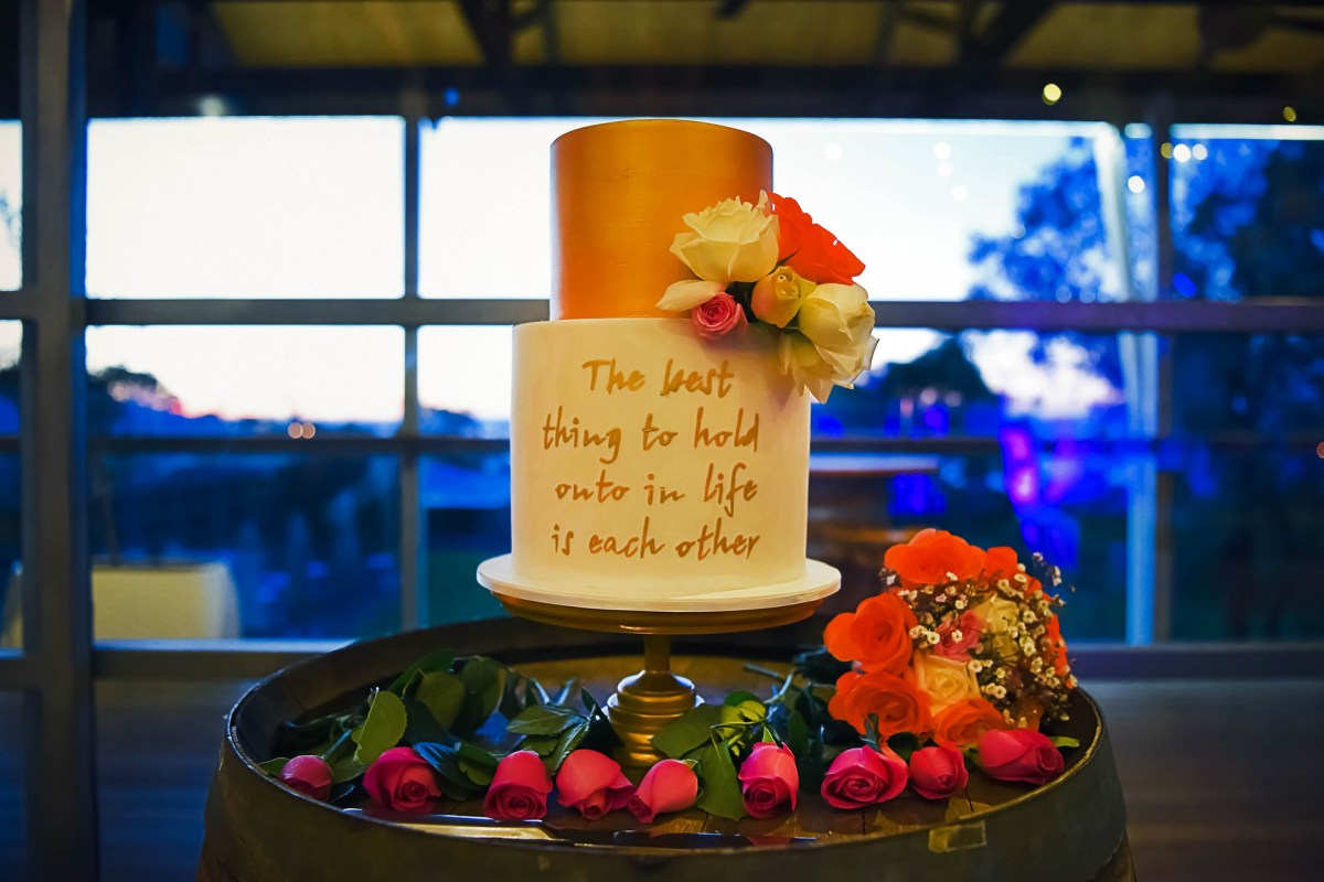 wedding cake with inspirational quote