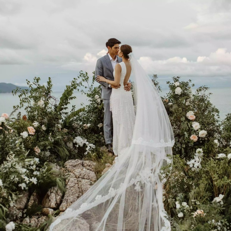 <p>bride and groom dramatic veil</p><br><br>