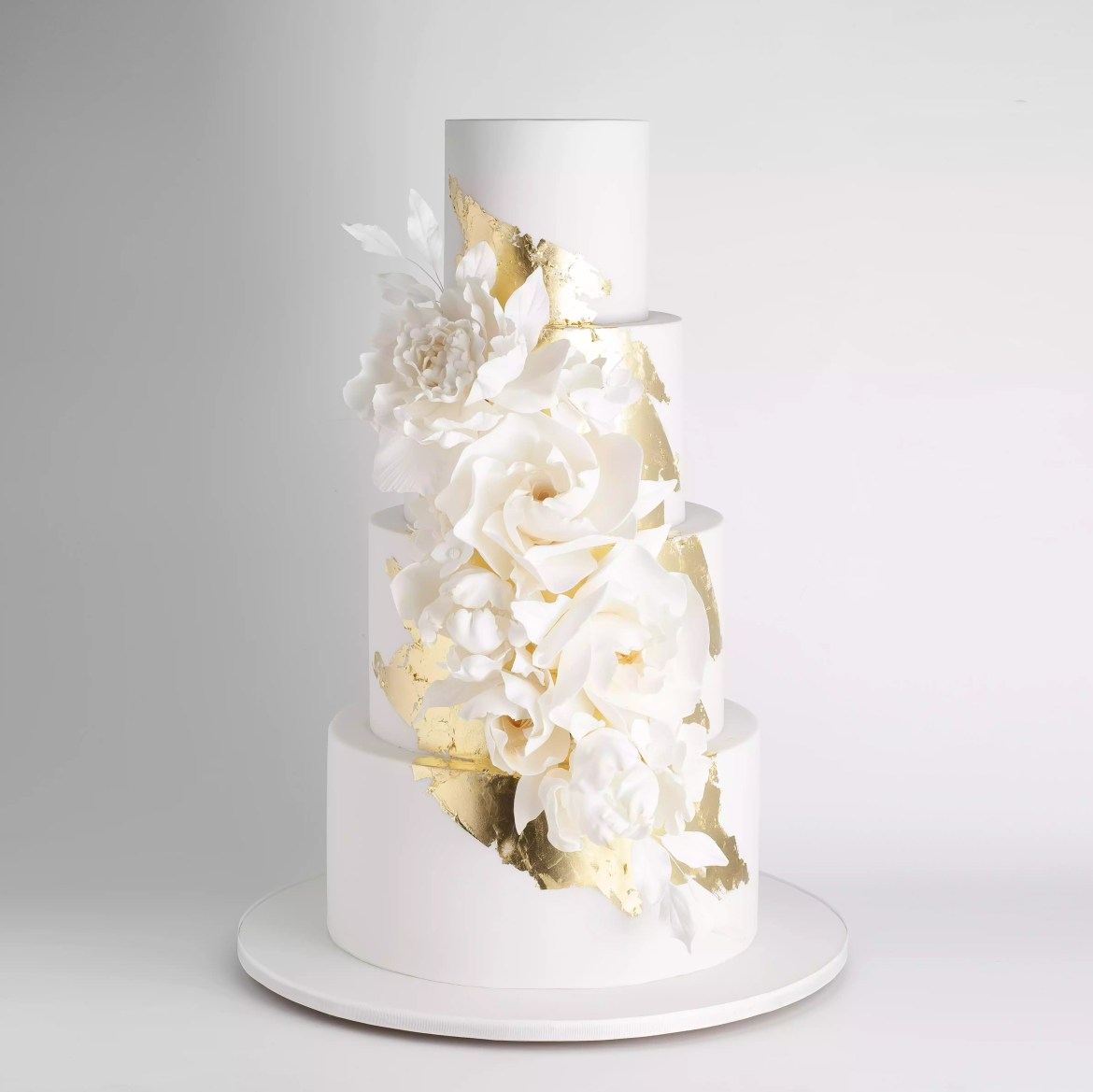 Gold accented floral cake