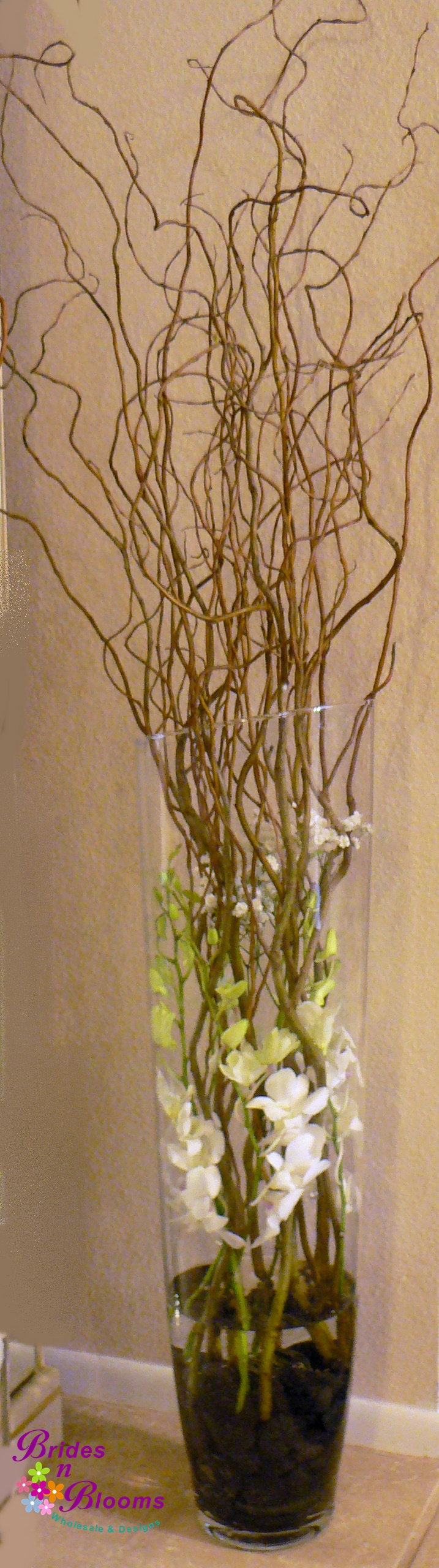 Brides N Blooms, Wholesale & Designs, Super Tall Curly Willow, Orchid & Babies Breath Accent - Ceremony Decor