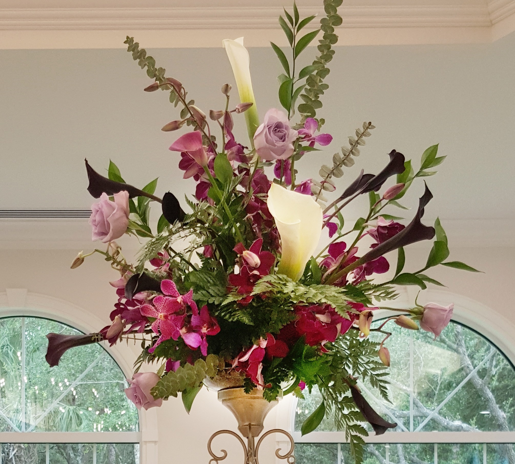 Altar Arrangement with Callas, Mini Callas, Roses & Orchids