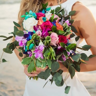 Jewel toned garden style bouquet