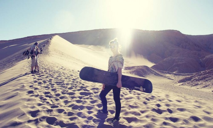Victoria looking badass sandborading in San Pedro de Atacama