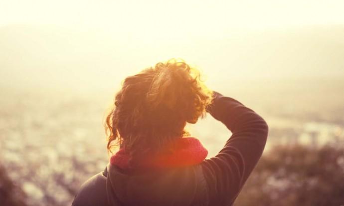 Victoria taking in the sunset on Cerro San Bernardo