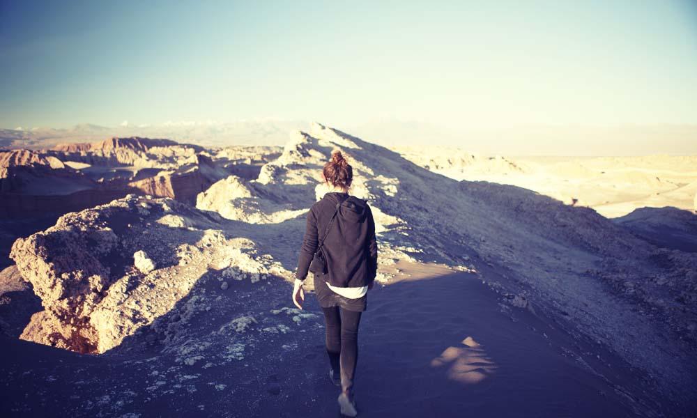 Victoria walking the ridge, Valle de la Luna, San Pedro de Atacama