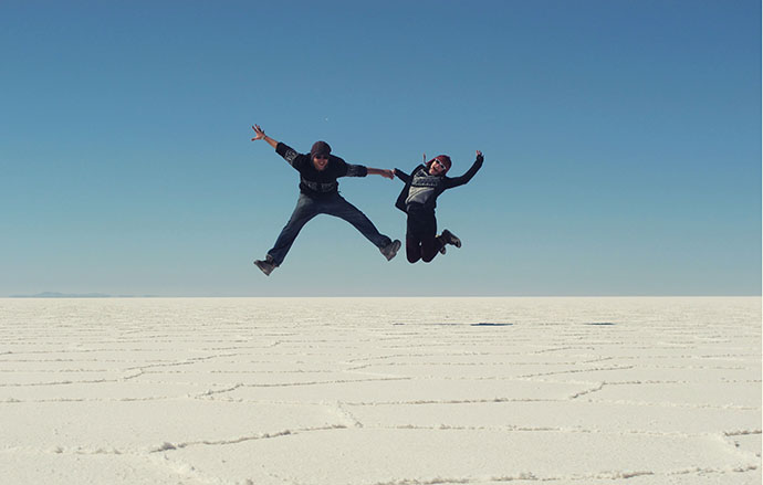 Jumping on the salt flats