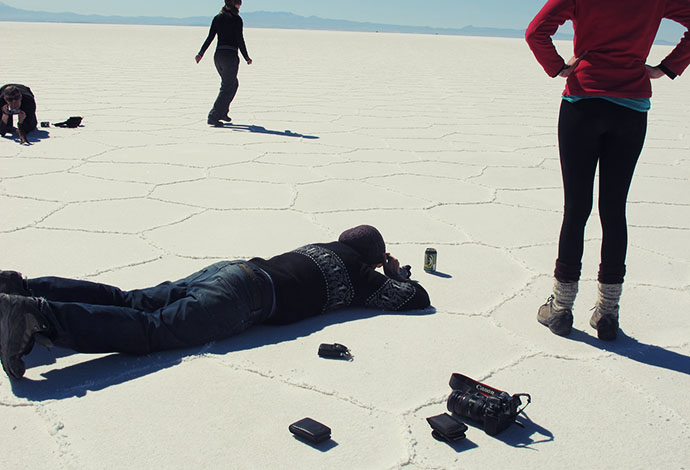 Perspective photography on salt flats