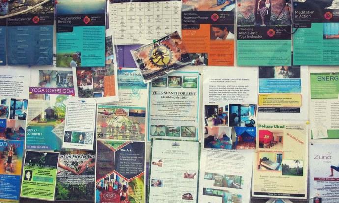 Notice board in Ubud, bali