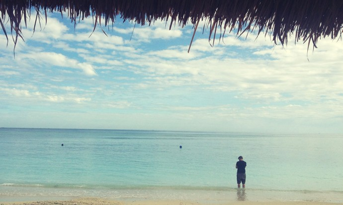Standing in the Gili sea