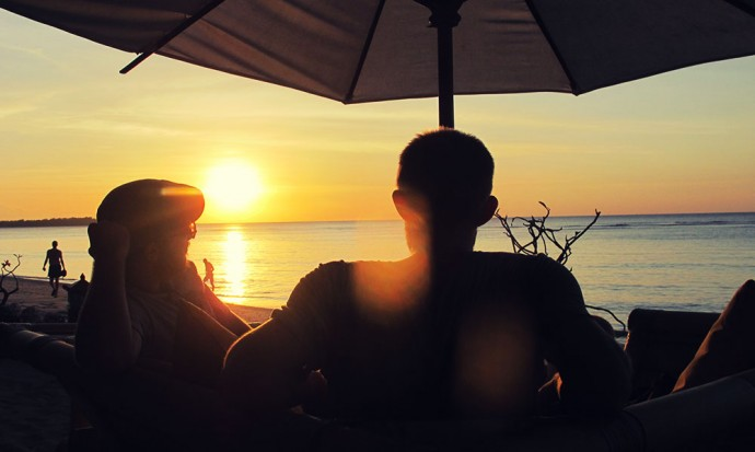 Tom and Steve watching the sunset on Gili Air