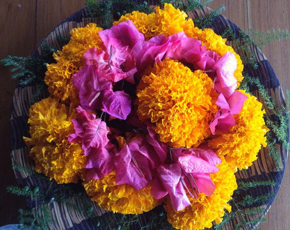 Marigold offering with pink flowers