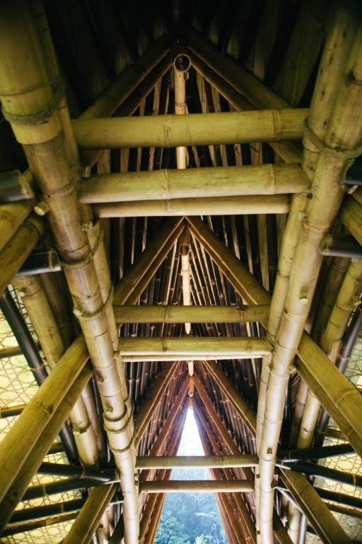 Roof of green school bridge