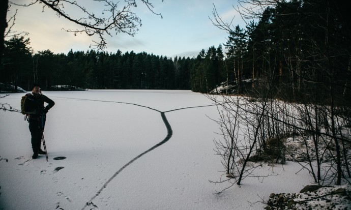 Skating on  lake in Finland