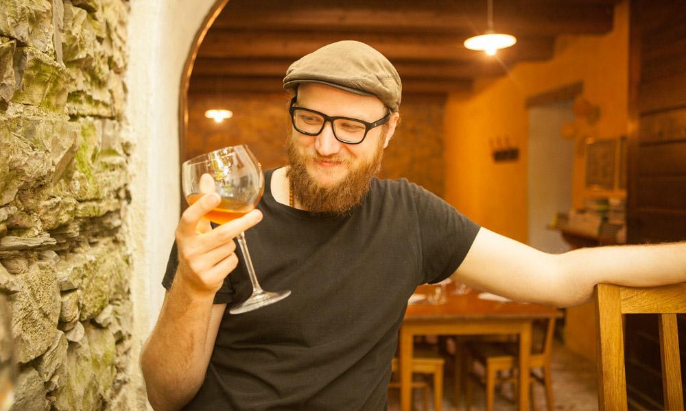 Steve enjoying orange wine at Majerija