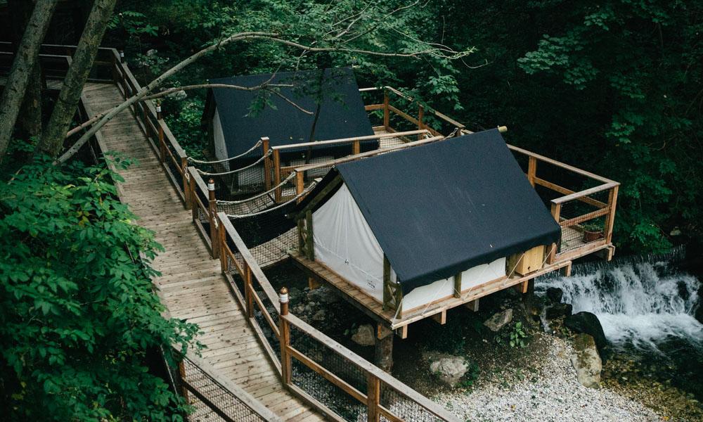 Glamping tents at Lake Bled, Slovenia