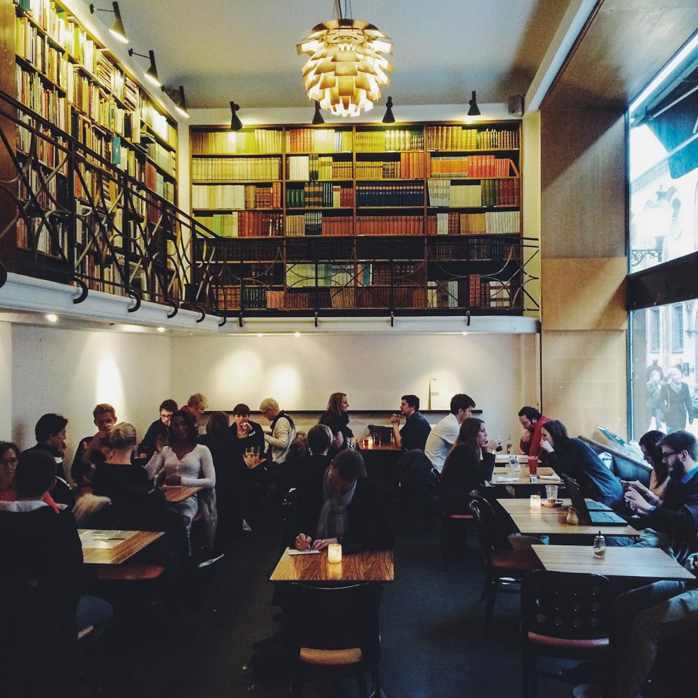 Inside Cafe Paludan, one of the best cafes in Copenhagen
