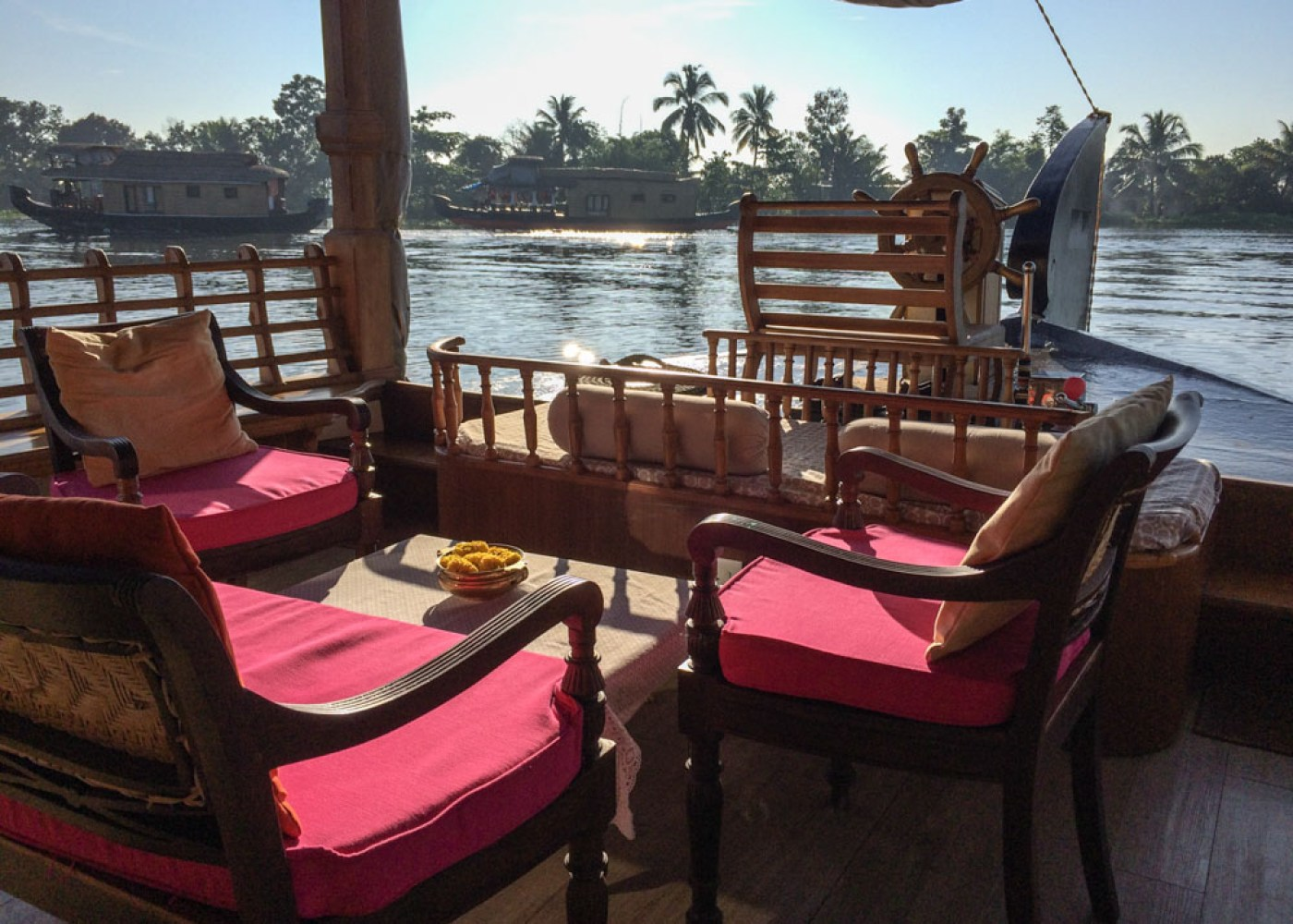 A luxury houseboat in Kerala